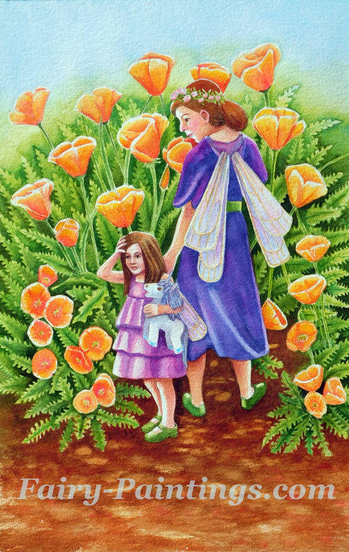 Walking Through Poppies Original Fiary Art By Rachel